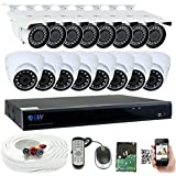 GW Security 16 Channel 5 Megapixel 5 in 1 DVR + 16 x HD-TVI 5MP 1920P Vari-Focal Outdoor / Indoor CCTV Security Camera System with Installed 6TB Hard Drive