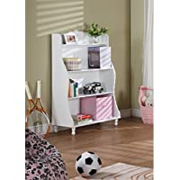 Three Tier Traditional Wood Bookcase with Open Shelves in White - Perfect Storage for Kids Toys and More