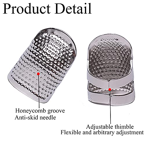 J.CARP 4Pcs Sewing Thimble, Metal Silvery Sewing Thimble Finger Protector, Adjustable Finger Shield Ring Fingertip Thimble Sewing Quilting Craft, Accessories DIY Sewing Tools (2 Sizes, S/M)