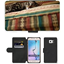 Hot Style Cell Phone Card Slot PU Leather Wallet Case // M00131186 Kitten Gata Pet Animal Pets Animals // Samsung Galaxy S6 (Not Fits S6 EDGE)