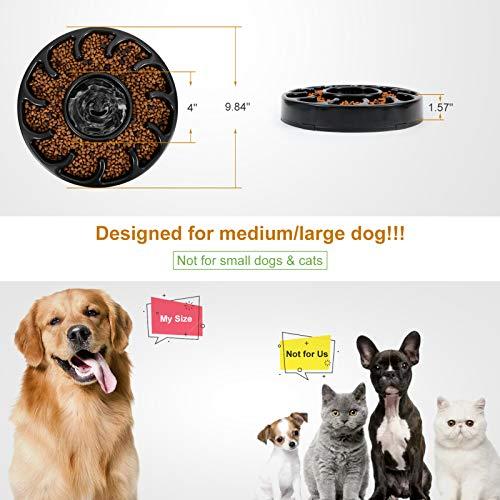 KASBAH Slow Feeder Dog Bowl for Large Dogs, Non Slip Puzzle Bowl- Anti-Gulping Dog Food Bowl Non Toxic Bloat Stop Large Dog Bowl, Black