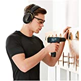 AmazonBasics Safety Ear Muffs Ear Protection, Black and Yellow, and Safety Glasses, Clear Lens