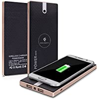 Qi Power Bank Cloele Cell Phone Portable Battery Pack Charger 8000Mah and Wireless Charger External Battery Pack 2 in 1 With Dual Fast Charging Port For IPhone ,Samsung And More -Black