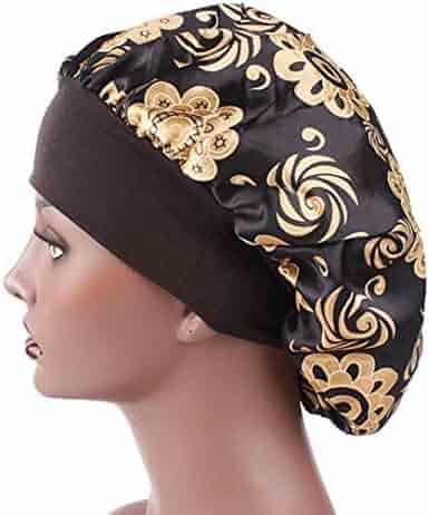 9613fe968eb8e5 SUKEQ Luxury Flower Printed Wide Band Satin Bonnet Cap Comfortable Soft  Night Sleep Hat Hair Loss