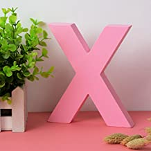 Decorative Wood Letters X Hanging Wall 26 Letters Wooden Alphabet Wall Letter for Children Baby Name Girls Bedroom Wedding Brithday Party Home Decor-Letters