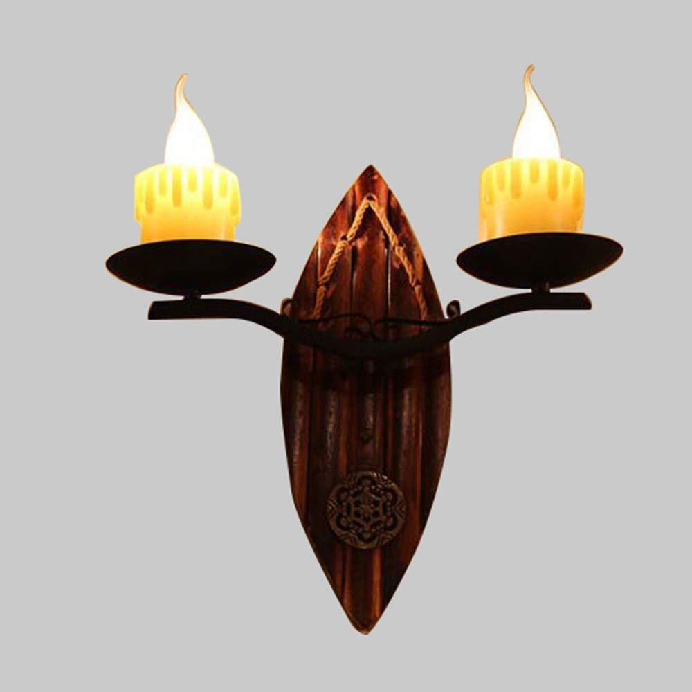 Wandleuchte - American Retro Doppelköpfiger Kerze Holz Kunst Wandleuchte kreative Cafe Gang Wohnzimmer chinesische Schlafzimmer Wand Lampe - wall Beleuchtung Dekoration