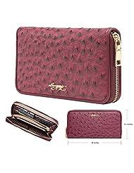 Aitbags Women Soft Ostrich Grain Leather Wallets for Women Zippered Arround Clutch Purse
