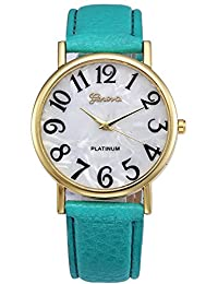 Retro Womens Watches COOKI Clearance Quartz Female watches on Sale Comfortable Leather Lady Watches-H66 (Green)
