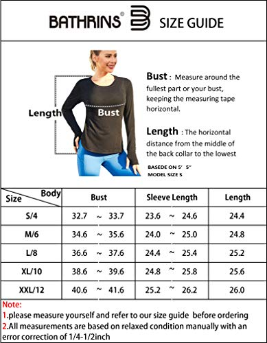 BATHRINS Women's Sports Shirt Yoga Tops Long Sleeve Side Split Loose Shirts Sports Running Top with Thumbholes Black