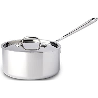 All-Clad 4203 Stainless Steel Tri-Ply Bonded Dishwasher Safe Sauce Pan with Lid / Cookware, 3-Quart, Silver - 8701004398