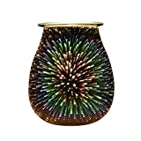 COOSA Electric Oil Warmer 3D Effect Starburst Fireworks Beautiful Glass Wax Tart Burner Night Light Aroma Decorative Lamp for Gifts Decor (Multicolor)
