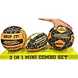 Wave Runner Grip IT 3 in 1 Pool and Beach Toy Styles Mini Football, Mini Volleyball and Mini Soccer Size Range from 6 in to 7 in with Sure Wet Grip Technology Skip or Bounce on Water (Orange)