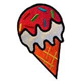 Ice Cream Summer Loving Kids Patch ''8,3 x 4,7 cm'' - Embroidered Iron On Patches Sew On Patches Embroidery Applikations Applique Catch The Patch