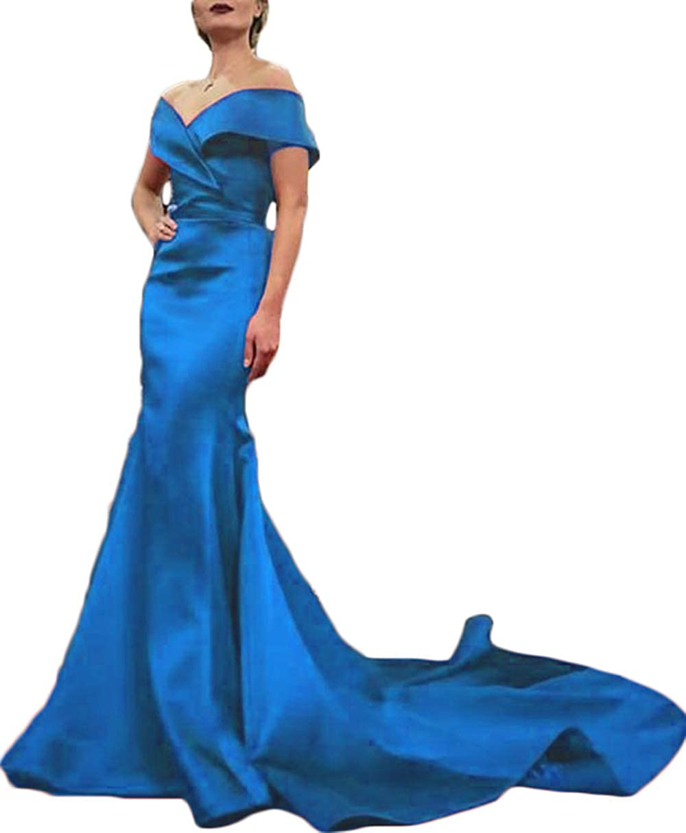 bluee Rmaytiked Womens Off The Shoulder Mermaid Prom Dresses Long 2019 Elegant Satin Formal Evening Ball Gowns