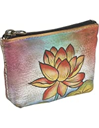 Anuschka Women's Hand Panted Pouch Floating Feathers Coin Purse