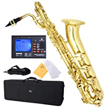 Mendini E-Flat Baritone Saxophone, Lacquered Yellow Brass and Tuner, Case - MBS-30L+92D