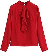 Romwe Women's Casual Blouse Long Sleeve Ruffle Front Mock Neck Solid Office Chiffon Top