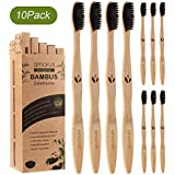 Amorus 10 Pack Bamboo Toothbrush Biodegradable Wooden Toothbrushes Eco-Friendly, Natural, Ergonomic, Soft BPA Free Bristles, Safe for Adults Family