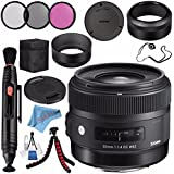 Sigma 30mm f/1.4 DC HSM Art Lens for Canon #301101 + 62mm 3 Piece Filter Kit + Lens Pen Cleaner + Fibercloth + Lens Capkeeper + Deluxe Cleaning Kit + Flexible Tripod Bundle