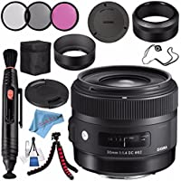 Sigma 30mm f/1.4 DC HSM Art Lens for Nikon #301306 + 62mm 3 Piece Filter Kit + Lens Pen Cleaner + Fibercloth + Lens Capkeeper + Deluxe Cleaning Kit + Flexible Tripod Bundle