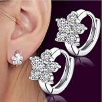 phitak shop Fashion Women Girl 925 Silver Plated Snowflake Crystal Zircon Ear Hoop Earrings