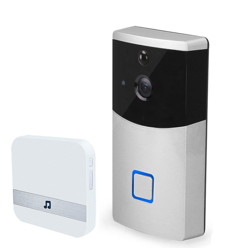 MIAO@LONG Video Türklingel Drahtloses Echtzeit-Video und Zwei-Wege-Audio mit Innenempfänger und 8G Speicher (Silber)