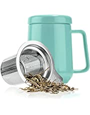 Tealyra - Peak Ceramic Turquoise Tea Cup Infuser - 580ml - Large Tea High-Fired Ceramic Mug with Lid and Stainless Steel Infuser - Tea-for-One Perfect Set for Office and Home Uses