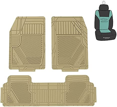 FH Group F11326 Oversized Full Coverage Protective Trimmable Floor Mats (Beige) Full Set – Universal Fit for Cars Trucks and SUVs