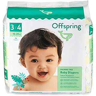 Offspring Disposable Diapers - New - Size 3-4 - Eco-Friendly - Premium Ultra Soft - Double Leak Guard Technology - Designer Leaf Print - Sustainable Materials