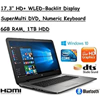 2017 Newest Edition HP 17.3 HD+ (1600x900) Premium High Performance WLED-Backlit Laptop PC, Intel Core i3-5005U, 6GB RAM, 1TB HDD, Windows 10, Silver