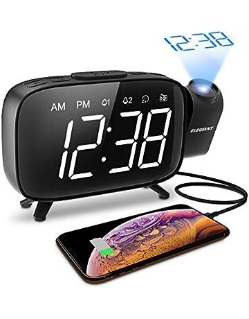 ELEGIANT Reloj Despertador Digital Proyector con FM Radio, Brillo 3 Niveles Atenuador 7 Alarmas de