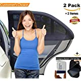 Car Window Shade For Baby Car Sun Shade Breathable Mesh Protect The Kid From Sun and Insects Universal Fit Comes W/free Sticky Mat - Set Of 2 by ISMARTSHIELD