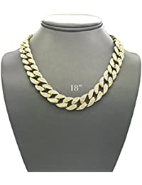 Mens Iced Out Hip Hop Gold tone CZ Miami Cuban Link Chain...