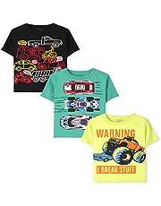The Children's Place Camiseta de Manga Corta con diseño gráfico y Texto and Toddler Boy, Paquete de 3 Camiseta para bebés niños