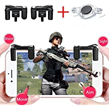 Bomach Mobile Game Controller,1 Pair Sensitive Fire Shoot Gaming Trigger Button L1R1 Aim Keys Shooter Controller Gamepad and 1Pcs Free Mobile Joystick for iPhone,Android Smart Cell Phone PUBG