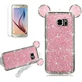 Cartoon Rabbit Ears Case for Samsung Galaxy S7 Edge, Girlyard Animal Ear Case Bling Glitter Design Lovely Cover ULtra Slim Flexible Silicone GEL Manual 3D Back Cover with Neck Strap Lanyard for Samsung Galaxy S7 Edge -- Hot Pink