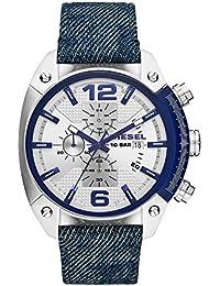 Men's Overflow Quartz Stainless Steel and Denim Chronograph Watch, Color: Silver-Tone, Blue (Model: DZ4480)