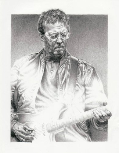 Eric Clapton Original Sketch Prints – Poster Size – Black  White – Features Eric Clapton Portrait. Print of Highly-Detailed, Handmade Drawing By Arti…