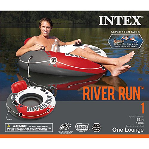 """Intex Red River Run 1 Fire Edition Sport Lounge, Inflatable Water Float, 53"""" Diameter"""
