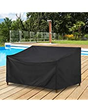 """SunPatio Outdoor Patio Sofa Cover Waterproof, Deep Seated Loveseat Cover with Sealed Seam and Air Vent, UV & Rip & Fade Resistant, All Weather Protection, 60"""" W x 40"""" D x 32"""" /22"""" H, Black"""