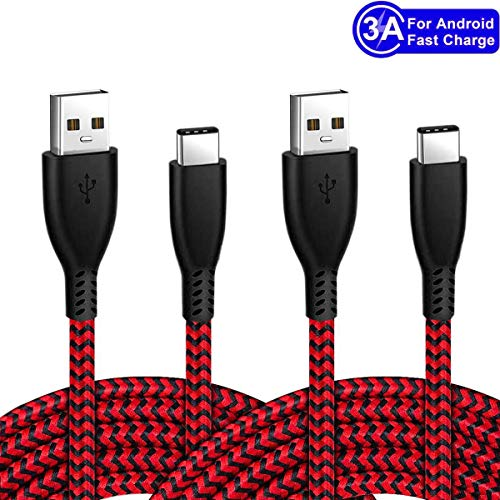 USB Type C Charging Cable 6.6FT 2Pack 3A Nylon Fast Charger Cord for Samsung Galaxy Fold Note 10 9 S8 S9 S10 Plus S10E 10E S10+,S20 Ultra S20+ 20 20+ LG Stylo 5 4 G6 G7 G8 Google Pixel 4 3a 4a XL