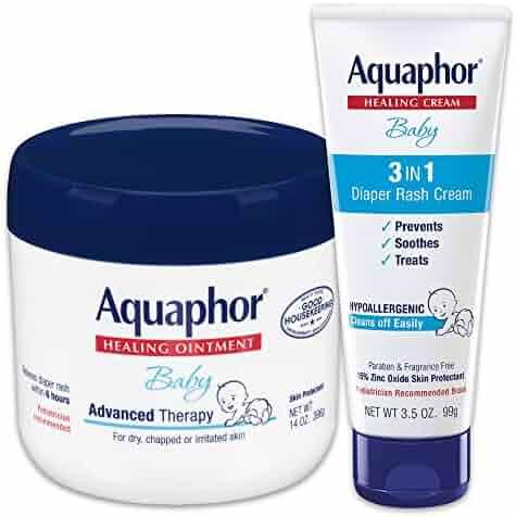 Aquaphor Baby Skin Care Set - Fragrance Free, Prevents, Soothes & Treats Diaper Rash - Includes 14 oz. Jar of Advanced Healing Ointment & 3.5 oz Tube of Diaper Rash Cream