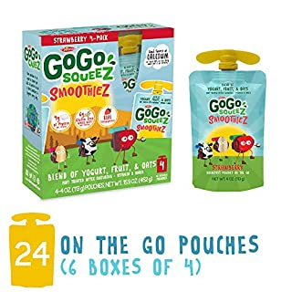 GoGo SqueeZ GoGo squeeZ SmoothieZ, Strawberry, 4 Ounce (24 Pouches) | Gluten Free Yogurt, Fruit, & Oat Pouches | Individual Snacks for Kids | No Preservatives | Reclosable, BPA Free Convenient Pouches