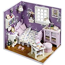 Miniature DIY Wooden Dollhouse Mini Creative Room With Furniture, Accessories Kits Cute Elegant Dollhouse With Lights,Easy Assembly Great Gift Idea for Birthdays,Collectors, Crafts (Multicolor)