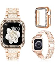 Women Glitter Protective Watch Case Bling Diamond Metal Strap 42mm/44mm iWatch Series 4, 5, 6 SE For Apple Watch Bands. (GOLD)