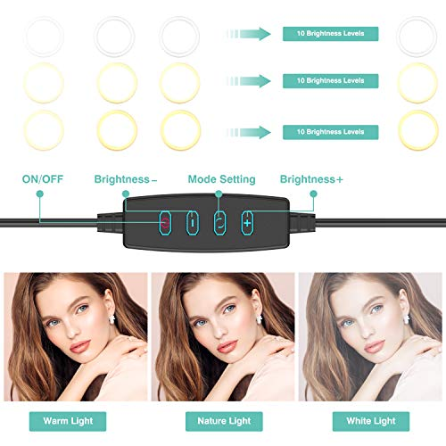 """10"""" Selfie Ring Light with Tripod Stand & Phone Holder for Live Stream/Makeup, Dimmable Led Camera Beauty Ringlight for YouTube TikTok/Photography Compatible with Cell Phone(Upgraded)"""