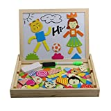 Tribe Wooden Writing Board Magnetic Jigsaw Campus Stlye Puzzle Drawing White Blackboard Easel Toy Educational Learning Game with Double Side for Kids Boys Girls Children 3 4 5 Years Old