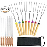Marshmallow Roasting Sticks, Set of 8 Barbeque BBQ Skewers, 32-inch Long Extended & Set of 12 Barbecue Skewers, Smores Skewers Hot Dog Fork with Wooden Handle for Fire Pit, Camping, Campfire