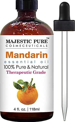 Majestic Pure Mandarin Essential Oil, 100% Pure and Natural Therapeutic Grade, 4 Fluid Ounce