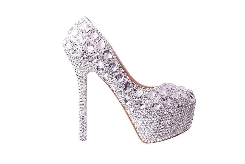 Diamanthochzeitsschuhe Hoch Hoch Hoch mit rutschfester wasserdichte Schuhe Brautschuhe Hochzeitsschuhe Kleidschuhe Slipper 14cm hohen Absatz, 4cm wasserdicht 853756